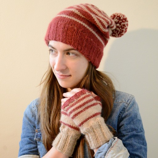 Cinnamon bun hat & fingerless mittens