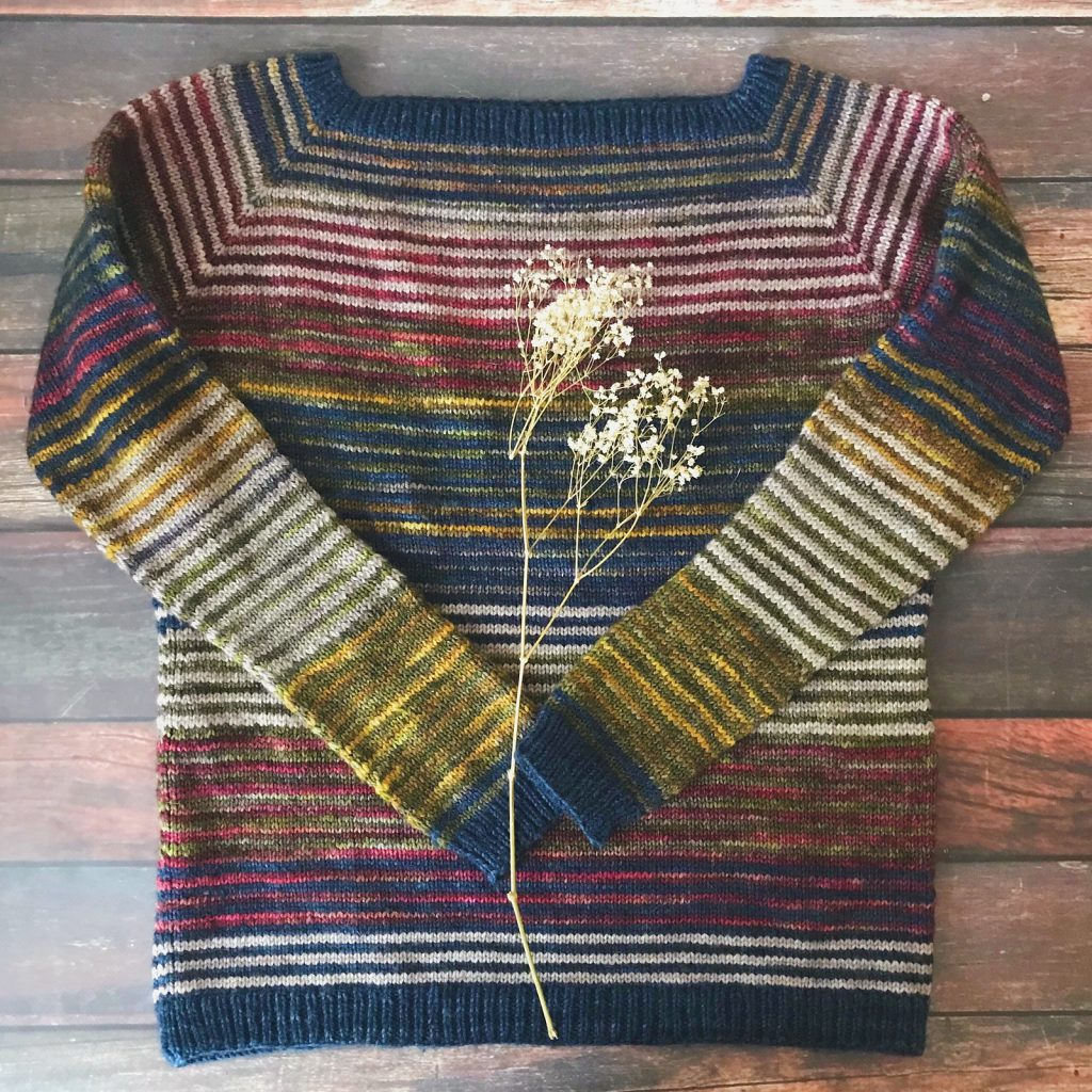 Lineage Sweater - Colorful stash buster knitting pattern for