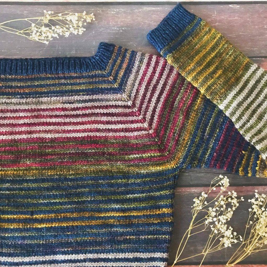 1f9621619bfc Lineage Sweater - Colorful stash buster knitting pattern for fall